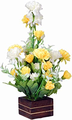 loixaa Artificial Yellow Carnation Flower in Wooden vase Arrangement (12 inch Height)