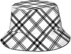 Simple Black White Check Plaid Antique Beauty Bucket Hat Unisex Sun Hat Fisherman Packable Trave Cap Fashion Outdoor Hat