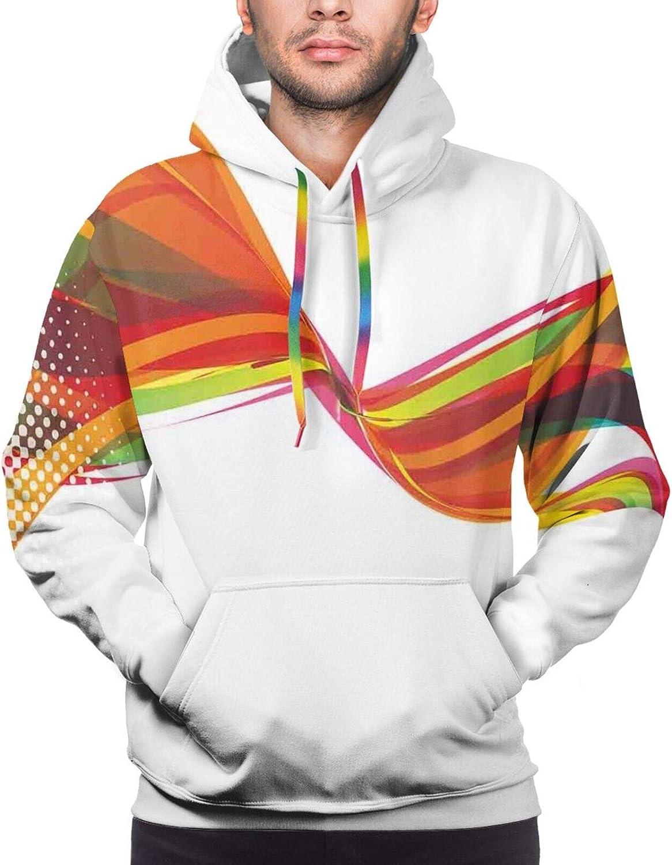 Men's Hoodies Sweatshirts,Rainbow Contoured Bulls Eye Pattern with A Green Man Silhouette Splashes