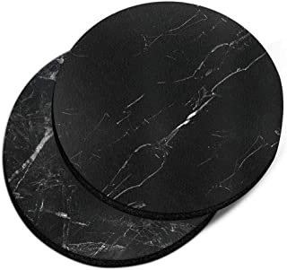 CARIBOU Coasters, Oriental Black Marble + Cloudy Black Marble Design Absorbent ROUND Fabric Felt Neoprene Car Coasters for...