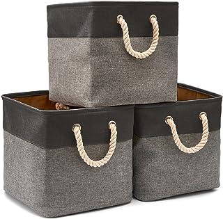 EZOWare Boîte de Rangement Pliable en Coton de Jute avec Poignée, Panier à Linge, Meuble de Rangement pour Étagère, Biblio...