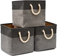 EZOWare 3-Pack Collapsible Storage Bins Basket Foldable Canvas Fabric Tweed Storage Cubes Set with Handles for Babies Nurs...