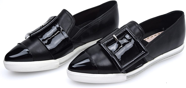 Miu Miu Woman Turnschuhe Slip ON schuhe Leather Code Code Code 5S172A 36 schwarz - schwarz  9937f5