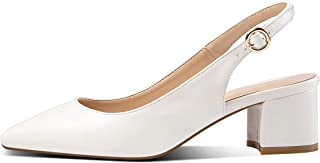 YODEKS Slingbacks Heels for Women Patent Leather Heels Slingback Pointed Toe Block Heel Pumps Ankle Buckle Chic Pumps, 2 inch Heel Height
