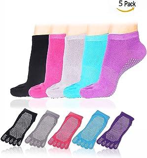 Cisixin Calcetines de Yoga Antideslizantes Pilates Yoga Fitness Danza Prevención de Caídas Antideslizante Calcetines algodón Mujeres(5 Pares)