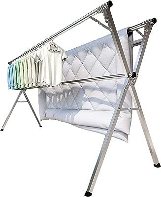 MEAKEA 物干し 布団干し ものほしざお 屋外 屋内干し 折り畳み 無組立 伸縮 幅140~240㎝