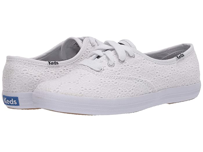 Retro Sneakers, Vintage Tennis Shoes Keds Champion Daisy Eyelet White Womens Shoes $49.99 AT vintagedancer.com