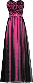 ANTS Women's Strapless Black Tulle Lace Evening Dress Long Prom Gown