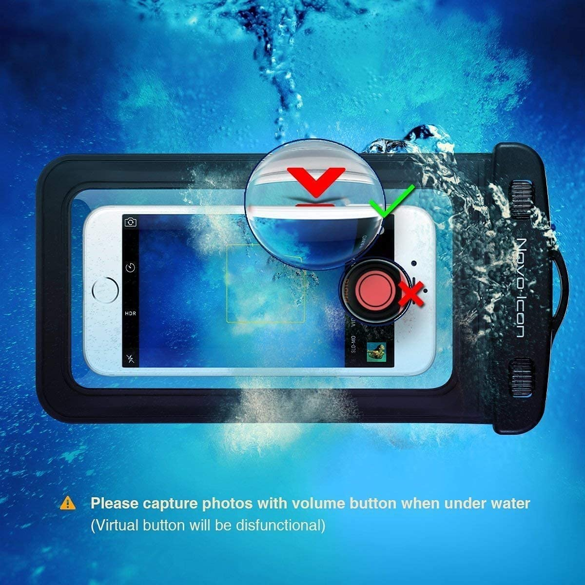 Novo Icon TPU Waterproof Phone Pouch Fully Transparent, IPX8 Cellphone Pouch, Cell Phone Dry Bags, Up to 7'' for iPhone 12 11 Pro Max XS XR X Plus, Galaxy S20+ S10 S9 Note20, (Black )