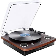 D&L Three Speed Deck Vinyl Conversion Bluetooth Turntable with Stereo Speakers, Aux in, Vinyl to MP3 Converting/Encoding,Rechargeable Record Player