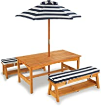 KidKraft 106 trädgårdsbordsset med bänk, kudde och parasoll trädgårdsmöbler för barn randigt mönster, naturfärger