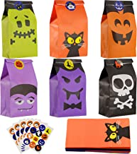 Hotop 54 Pieces Halloween Paper Gift Bags Trick or Treat Goody Gags Party Favor Candy Bags with 60 Pieces Halloween Stickers