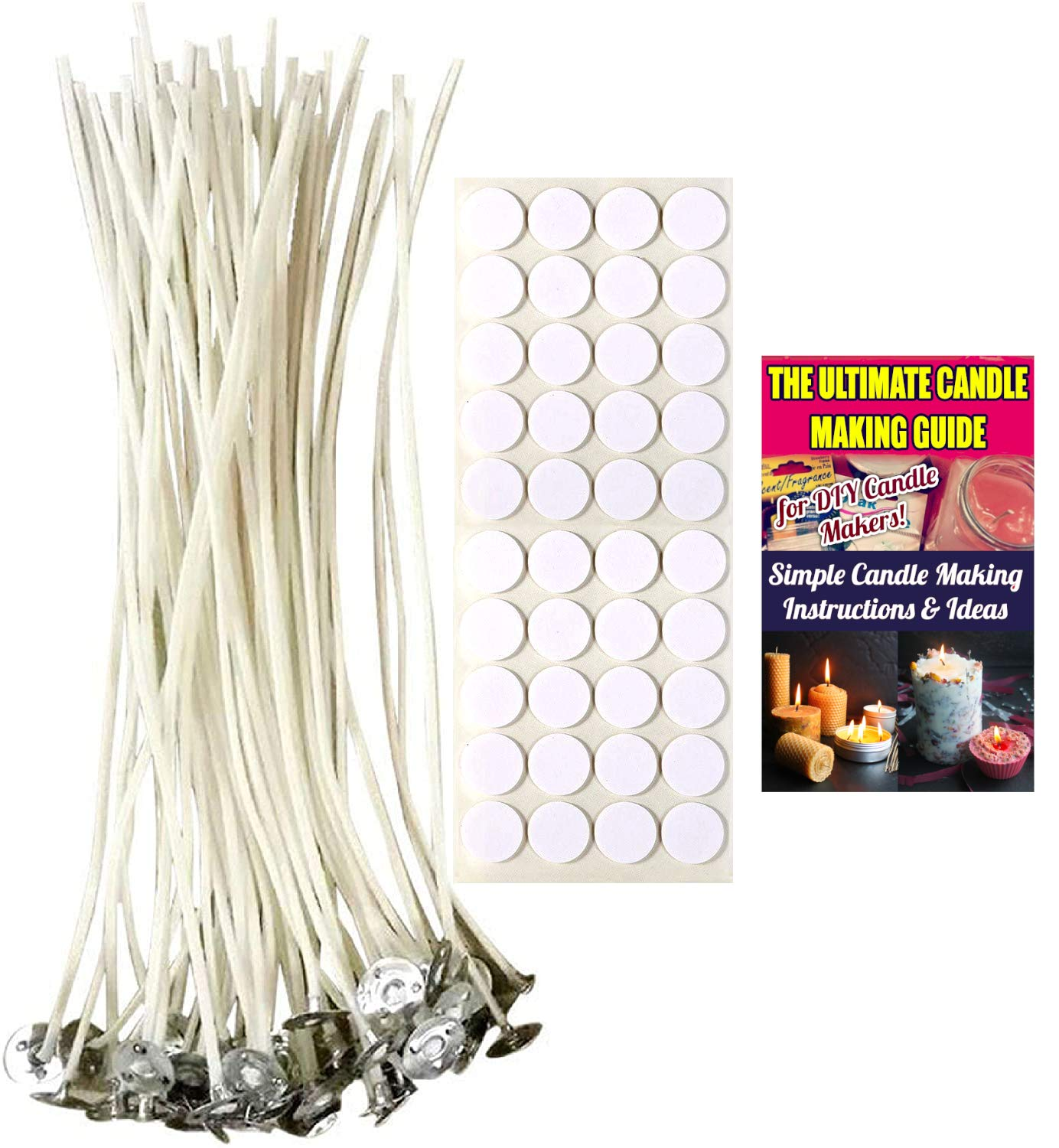 Cozyours 8 Inch Candle Wicks with Wick Stickers 50//50-Pack for Candle Making ...