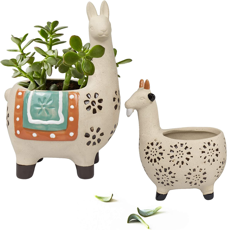 17. Llama & Goat Flower Plant Pots