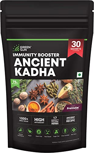 GREEN SUN IMMUNITY BOOSTER ANCIENT KADHA KADA POWDER 30 INSTANT MIX SACHETS Ayush Recommended Herbal Kwath Immune Boosting Shots 1000 ORAC Value Blend of 17 Herbs which can help in Immunity Building Ancient Immunity Booster recipe Detox Sugar Free