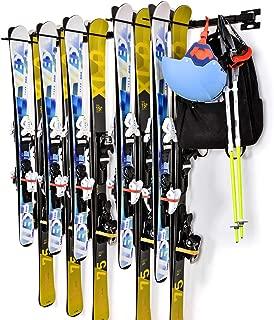 Ski Snowboard Wall Storage Rack | Holds 10 Pairs | Ski Wall Mount Home & Garage Storage Hanger Garage Storage Mount System,Black