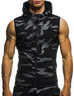 Mens Sleeveless Hoodie Gym Tank Tops Camouflage Print Slim Fit Bodybuilding Zipper Vest Blouse