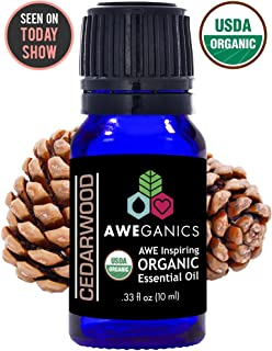 Aweganics Pure Cedarwood Oil USDA Organic Essential Oils, Premium 100% Pure Natural Therapeutic-Grade, Best Aromatherapy Scented-Oils for Diffuser, Home, Office, Personal Use - 10 ML - MSRP $14.99