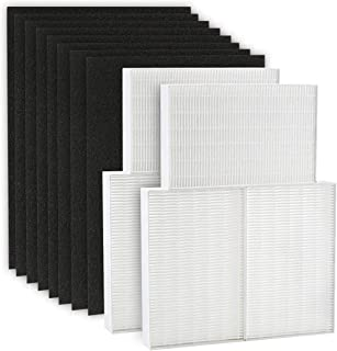 isinlive 6 Pack True HEPA Filter R, HRF-R3 Compatible with Honeywell Air Purifier HPA300 with 8 Pack Precut Activated Carbon Pre-Filters Replacement HRF-AP1