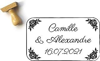 Timbro matrimonio personalizzato, con disegni di rose, stile floreale, elegante e chic, con nomi e data, 5 x 3 cm