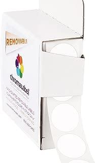 ChromaLabel 3/4 Inch Round Removable Color-Code Dot Stickers, 1000 per Dispenser Box, White