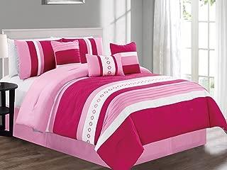 Empire Home 7 Piece Soft Oversized Comforter Set 21200 (Rose / Hot Pink, Queen)