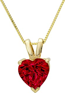 2.0 ct Brilliant Heart Cut Genuine Natural Deep Pomegranate Dark Red Garnet Ideal VVS1 D Solitaire Pendant Necklace With 1...