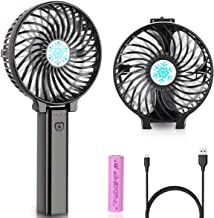 Tempo Handheld Electric Fans Mini Portable Outdoor Fan with Rechargeable Battery Foldable Handle Desktop for Home and Travel-Black