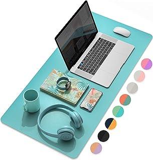 """میز کار چند منظوره دفتر کار YSAGi ، پد موس چرمی ضد آب فوق العاده نازک ، تشک نوشتاری میز دو منظوره برای دفتر / خانه (31.5 """"x 15.7"""" ، سبز کبالت آبی Calamine)"""
