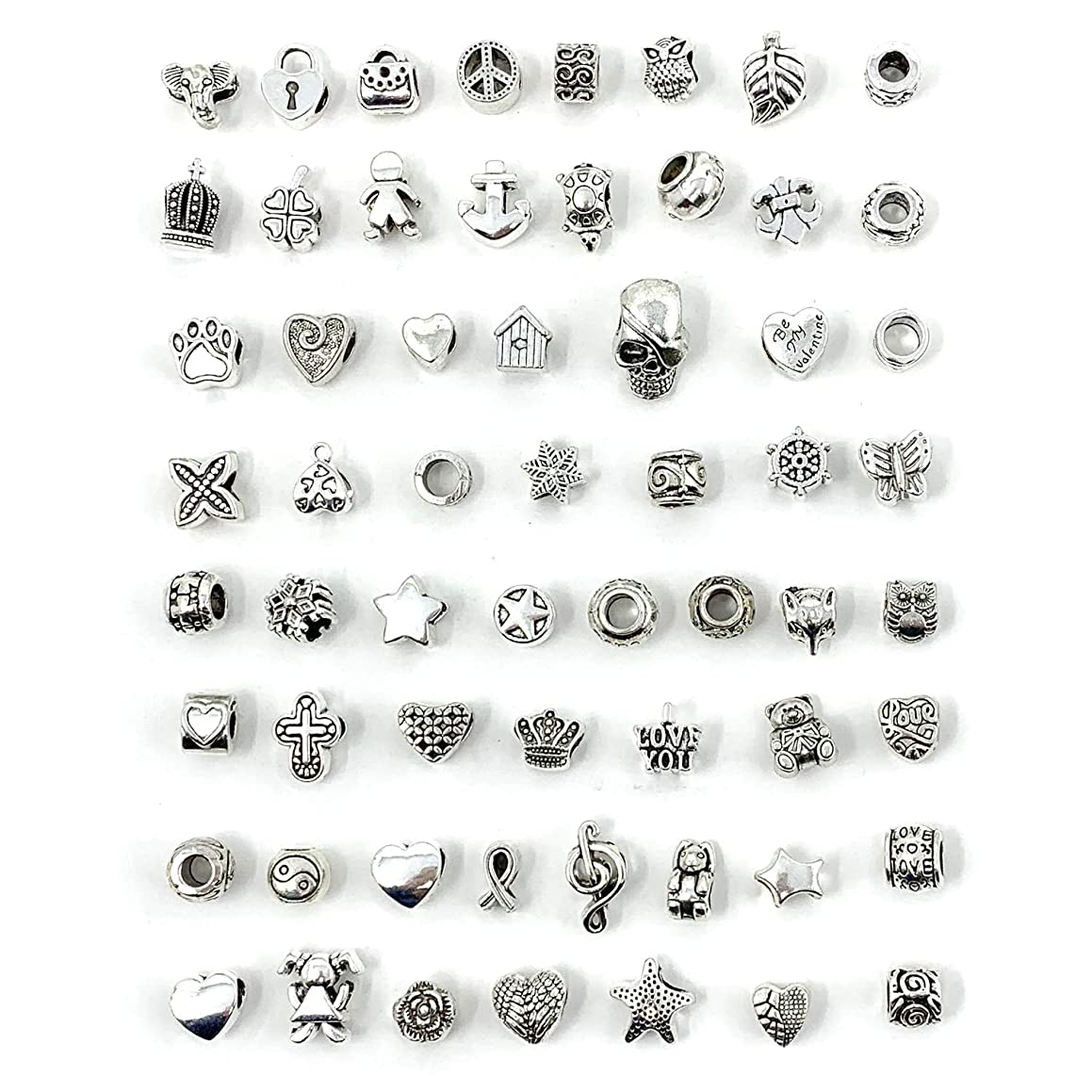 JIALEEY Wholesale Bulk Mix 60 Pcs Tibetan Silver Tone Color Spacer Loose Beads Fit European Charm Bracelet Lot for Jewelry Making Findings DIY
