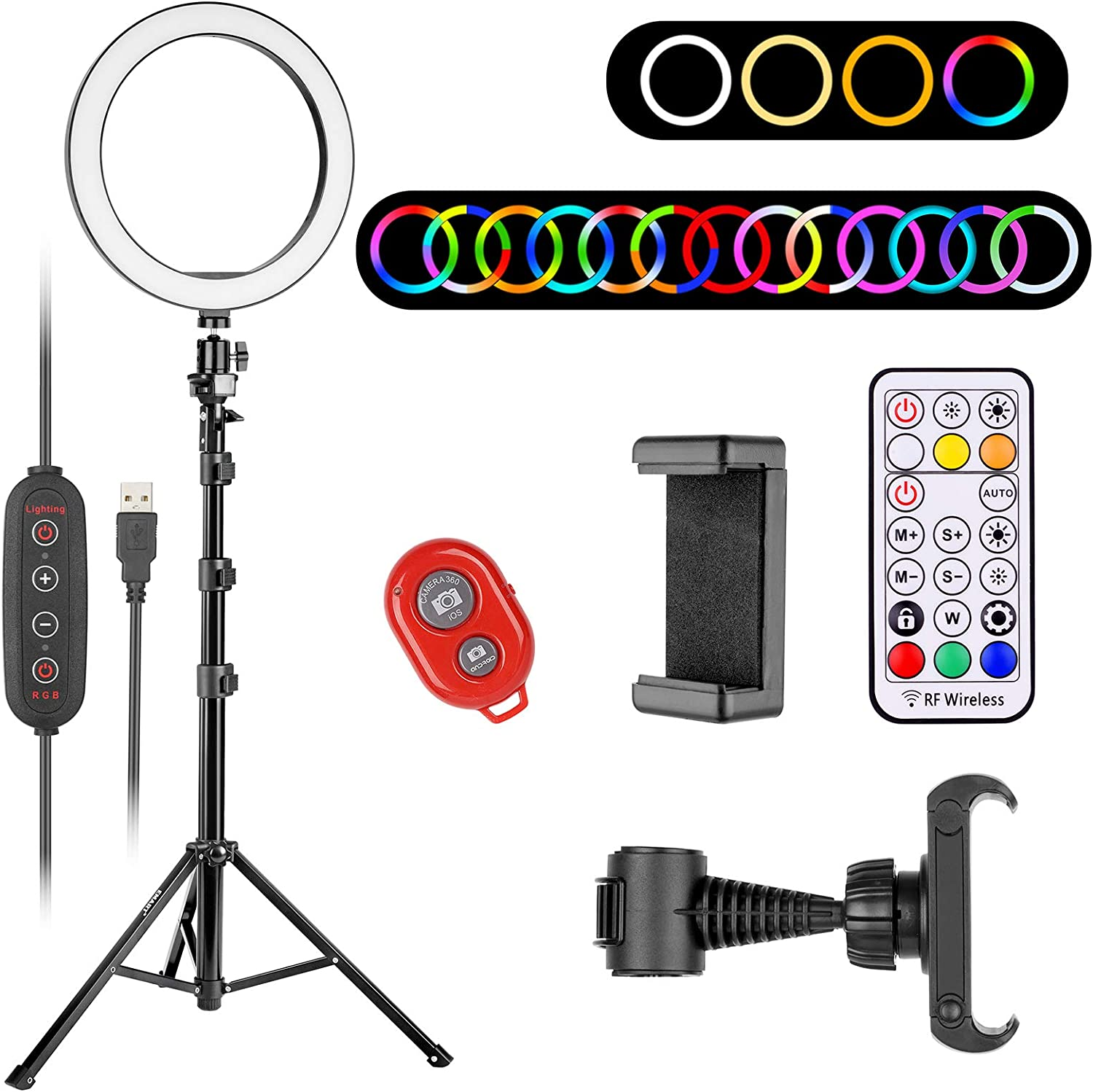 EMART 10 inch RGB Ring Light - Adjustable Tripod Stand & Cell Phone Holder for iPhone/Android - LED Selfie Circle Ringlight for Camera Video Recording/Photography/TIK Tok/Filming/Live Streaming