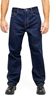 Kolossus Heavy Duty Relaxed Fit Straight Cut Five Pocket 100% Cotton Work Jeans with Triple Seams. Navy Blue