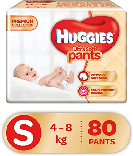 Huggies Ultra Soft Pants, Small Size Premium Diapers, 80 Counts