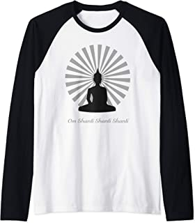 Buddha Zen Om Shanti Shanti Shanti  Raglan Baseball Tee