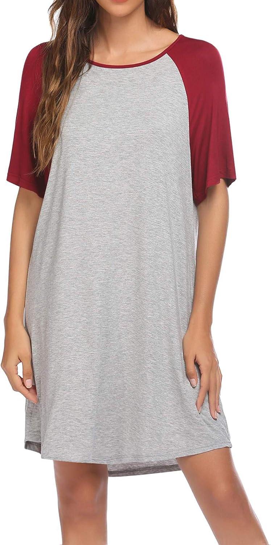 DREZZED Women Nightshirts Short Sleeve Nightgown Plus Size Sleep Shirts Soft Sleeping Dresses