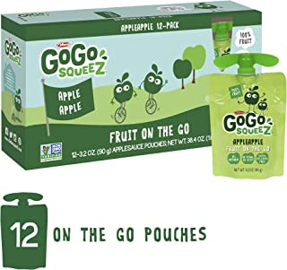 GoGo squeeZ Applesauce on the Go, Apple Apple, 3.2 Ounce (12 Pouches), Gluten Free, Vegan Friendly, Healthy Snacks, Unsweetened Applesauce, Recloseable, BPA Free Pouches