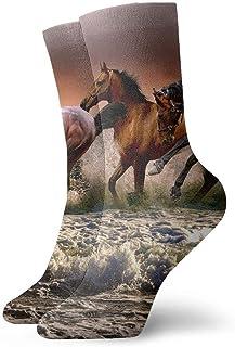 tyui7, Running Horse in The Sea Calcetines de compresión antideslizantes Cosy Athletic 30cm Crew Calcetines para hombres, mujeres, niños