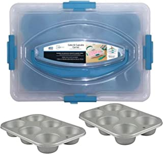 Cake Cupcake Muffin Carrier with Utensil and 2 Cupcake Pans dozen