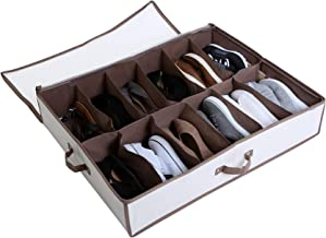 Smart Design Underbed 12 Compartment Shoe Organizer w/ Zipper, Handle, Clear Window - Holds 12 Pairs of Shoes - Cotton Canvas w/ Aromatic Cedar - Home Organization (30 x 6 Inch) [Canvas]