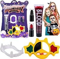 Halloween Trucco Kit Pittura Viso Corpo, Sangue Finto, Denti da vampiro, Strega, Fantasma Realistico Vampiro Zombie,...