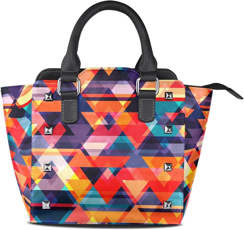 My Little Nest Women's Top Handle Satchel Handbag Vintage colorful Mosaic Pattern Ladies PU Leather Shoulder Bag Crossbody Bag