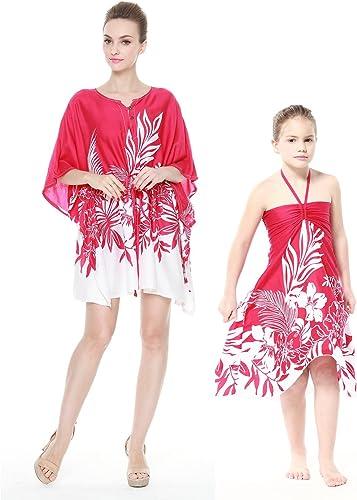 Mère et Fille Assortis Hawaii Luau Poncho Fille Papillon en Indri Rose