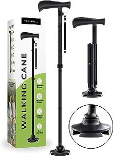 HoneyBull Walking Cane   Free Standing, Foldable, for Men & Women with Travel Bag [Black]