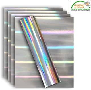 Holographic Rainbow Silver Stretchable Metallic Heat Transfer Vinyl Foil, Iron On HTV Bundle for DIY Your Own Clothes, 12x10 Inch, Pack of 5 Sheets