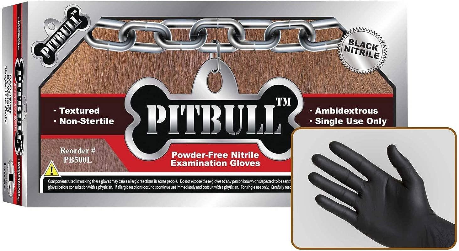 PITBULL Powder Free Black Nitrile Exam Gloves 6 Mils Thick Ambidextrous Finger Tip Textured Case Of 1000 Large