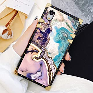 Square Case Compatible iPhone XR Agate Slice Marble Luxury Elegant Soft TPU Shockproof Protective Metal Decoration Corner Back Cover Case iPhone XR Case 6.1 Inch