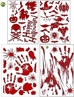Horror Bloody Footprints Handprints Floor Clings Halloween Window Decals for Vampire Zombie Party Decorations Big Bare Footprint Fingerprint Bathroom Wall Stickers (Pumpkin+bat+Handprint 4 Sheets)