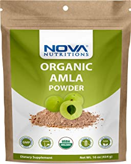 Nova Nutritions Certified Organic Amla Powder (Amalaki) 16 OZ (454 gm) - Rich in Antioxidant Vitamin C - Supports Healthy Immune Function