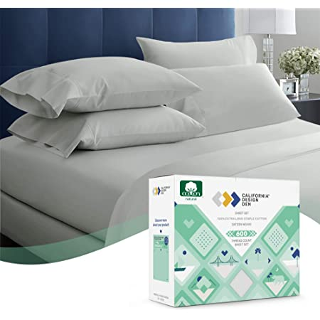 600 Thread Count Best Bed Sheets 100% Cotton Sheets Set Light Grey Extra Long Staple Cotton Queen Sheet for Bed, Fits Mattress 16'' Deep Pocket, Soft & Sateen Weave 4 Piece Sheets and Pillowcases Set
