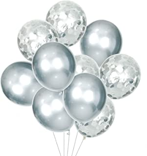 HOUZE LS-9485 Balloons (Set of 10) - Silver with Glitters